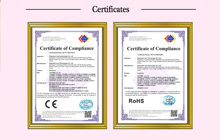 CE certificates and ROHS certificates