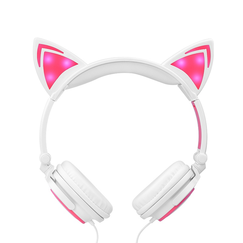 white pink cute cat headphones