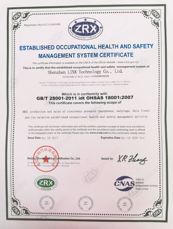 OHASA 18001:2007 Occupational Health and Safety Management System Certificate