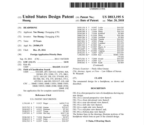 Cat Ear Headphone US Design Patent
