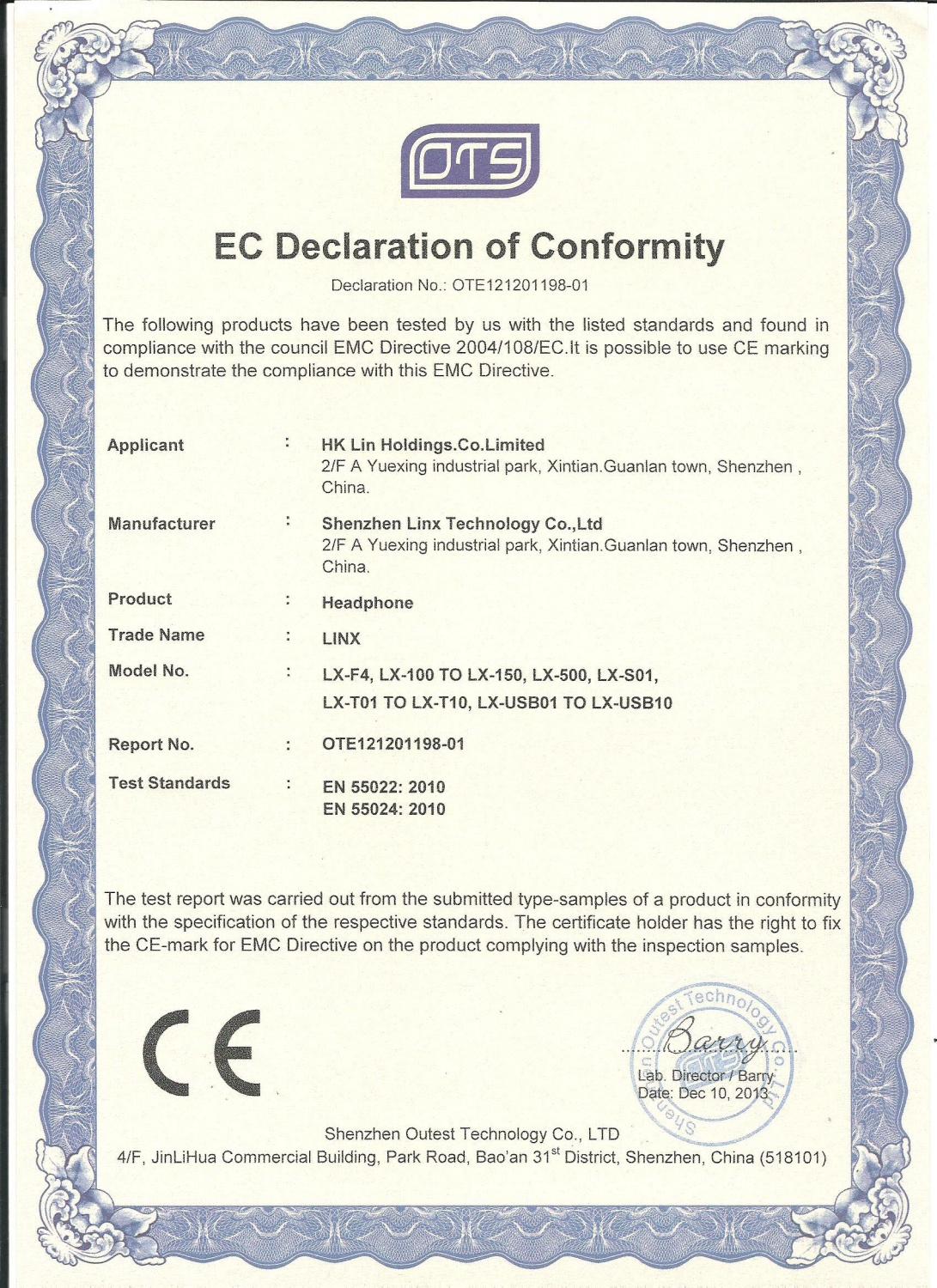 CE certificate for Headphone