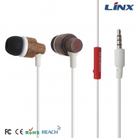 china factory wood earphone_OEM brand wood earbuds_iphone wooden earphone with mic W002