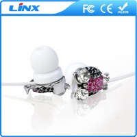New model wired mobile phone in-ear crystal earphone with mic