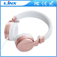 High end Rose Gold fancy wired mobile headphones wholesale