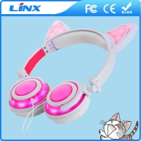Patent design wired fancy led cat ear headphones stereo